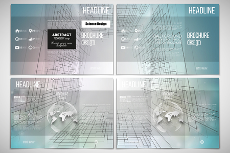 cyber space: Vector set of tri-fold brochure design template on both sides with world globe element. Abstract vector background of digital technologies, cyber space.
