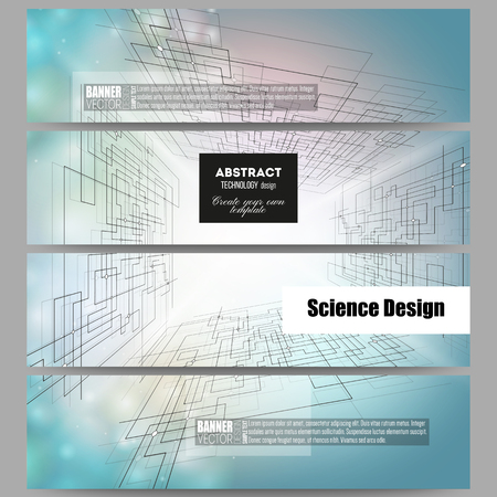 engineering design: Set of modern vector banners. Abstract vector background of digital technologies, cyber space.