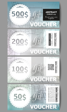 cyber space: Set of modern gift voucher templates.  Abstract vector background of digital technologies, cyber space.