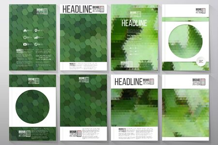 template: Business vector templates for brochure, flyer or booklet. Green leaves texture. Collection of abstract multicolored backgrounds. Natural geometrical patterns. Triangular and hexagonal style vector