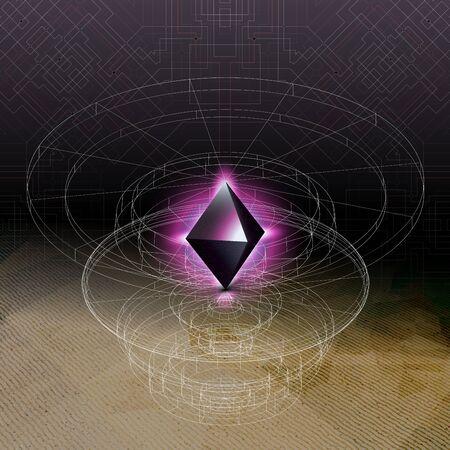 tetrahedron: Abstract geometric shape, scientific graphic design. Futuristic vector illustration. Illustration