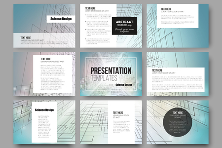 cyber space: Set of 9 vector templates for presentation slides. Abstract vector background of digital technologies, cyber space.