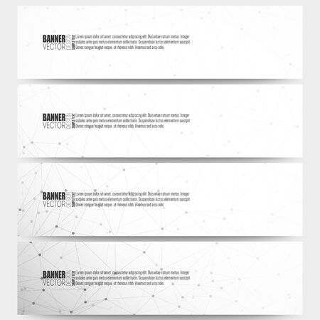 web template: Set of modern vector banners. Molecular structure design, scientific vector background.
