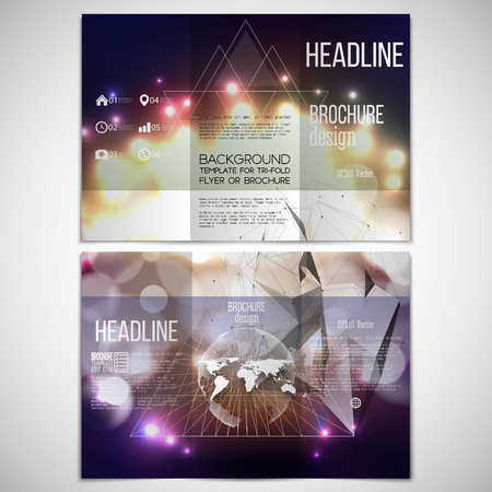 event: Vector set of tri-fold brochure design template on both sides with world globe element. Abstract background with bokeh lights and stars. Vector 3D pyramid. Scientific digital design, science vector