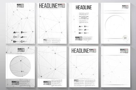 flyer layout: Set of business templates for brochure, flyer or booklet. Molecular structure design, scientific vector background. Illustration