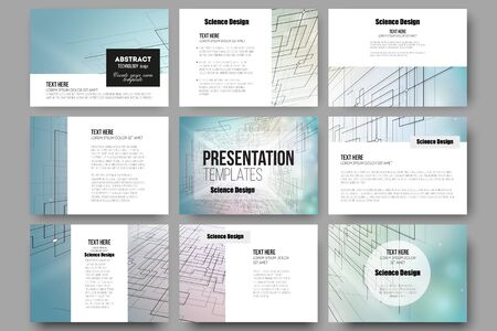 page layout: Set of 9 vector templates for presentation slides. Abstract vector background of digital technologies, cyber space.