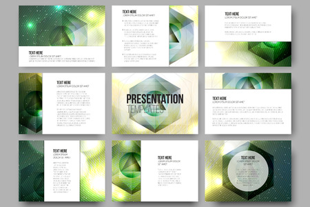 Set of 9 vector templates for presentation slides. Colorful graphic design, abstract vector background.