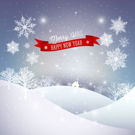 winter scene: Christmas greeting card. Merry Xmas and happy New Year vector background.