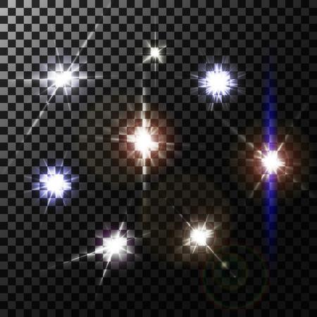 white magic: Set of lens flares on transparent background, vector illustration. Illustration