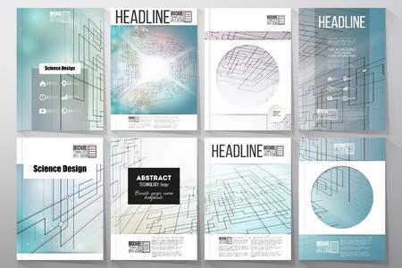 パンフレット、チラシ、小冊子のビジネス テンプレートのセットです。デジタル技術、サイバー スペースの抽象的なベクトルの背景。  イラスト・ベクター素材