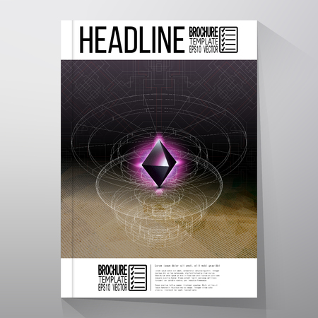 tetrahedron: Business templates for brochure, flyer or booklet. Abstract geometric shape, scientific graphic design. Illustration