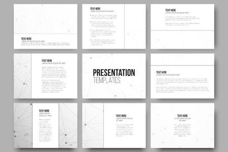 プレゼンテーション ・ スライドのための 9 のベクトル テンプレートをセットします。分子構造の設計、科学的なベクトルの背景。