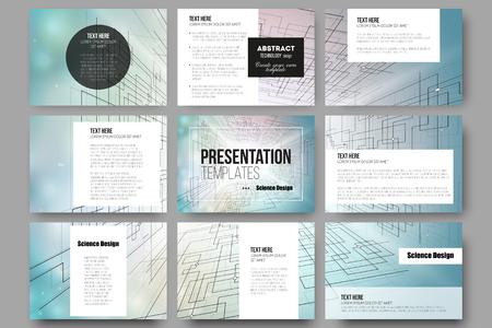 Ensemble de 9 modèles de vecteur pour les diapositives de présentation. Abstract vector background des technologies numériques, l'espace cybernétique. Vecteurs