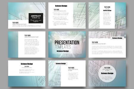 website backgrounds: Set of 9 vector templates for presentation slides. Abstract vector background of digital technologies, cyber space.