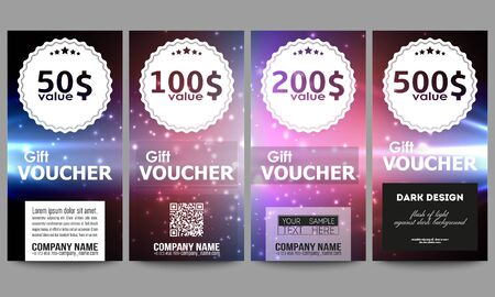 flashes: Set of modern gift voucher templates. Flashes against dark background.