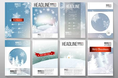 Set of business templates for brochure, flyer or booklet. Merry Christmas and happy New Year vector background.