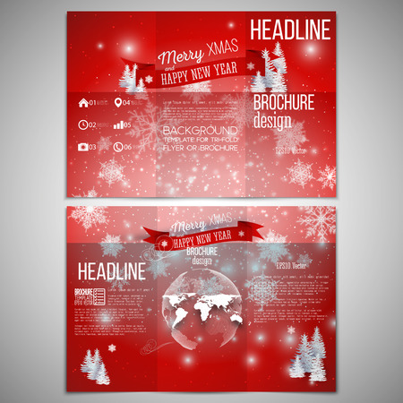 happy holidays: Vector set of tri-fold brochure design template on both sides with world globe element. Merry Christmas and happy New Year vector background.