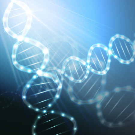 blue dna: DNA molecule structure on a blue background. Science vector background.