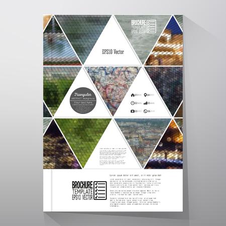 パンフレット、チラシ、小冊子のビジネス テンプレート。自然風景、幾何学的ベクトル、三角形のスタイルの図の抽象的な多色の背景。