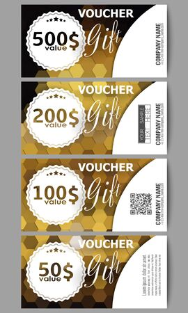 restaurant bill: Set of modern gift voucher templates. Polygonal design vector, colorful geometric triangular backgrounds.