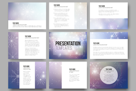layout design template: Set of 9 vector templates for presentation slides. Blue abstract winter background. Christmas vector style with snowflakes. Illustration