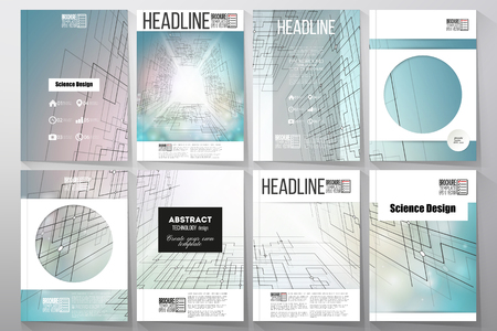 cyber space: Set of business templates for brochure, flyer or booklet. Abstract vector background of digital technologies, cyber space. Illustration