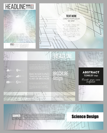 cyber space: Set of business templates for presentation, brochure, flyer or booklet. Abstract vector background of digital technologies, cyber space. Illustration
