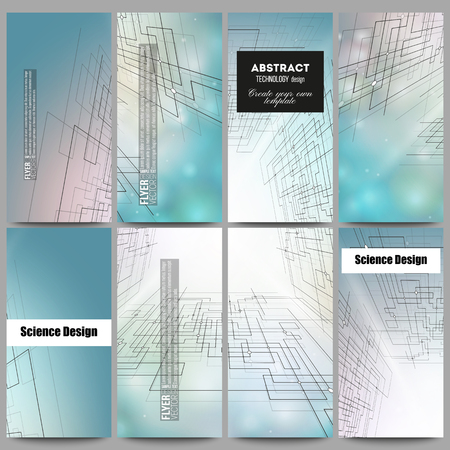 cyber space: Set of modern vector flyers. Abstract vector background of digital technologies, cyber space.