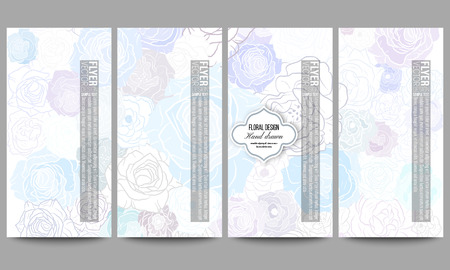 flower shape: Set of modern vector flyers. Hand drawn floral doodle pattern, abstract vector background