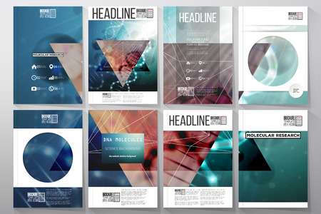 booklet design: Set of business templates for brochure, flyer or booklet. DNA molecule structure on dark green background. Science vector background.