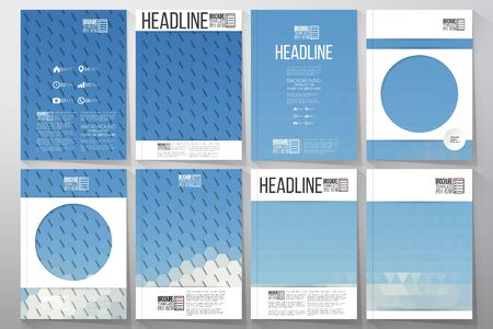 brochure cover: Business vector templates for brochure, flyer or booklet. Blue cloudy sky. Collection of abstract multicolored backgrounds. Natural geometrical patterns. Triangular and hexagonal style vector