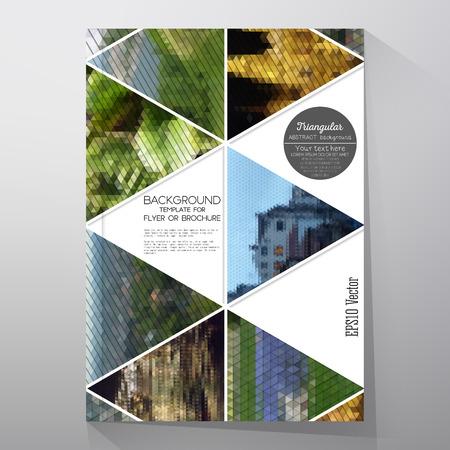 브로셔, 전단지 나 책자에 대한 비즈니스 템플릿. 자연 풍경의 추상 여러 가지 빛깔 배경, 기하학적 벡터, 삼각형 스타일 그림. 일러스트