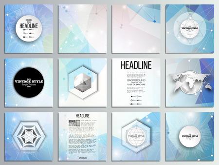 Set of 12 creative cards, square brochure template design. Abstract multicolored background. Scientific digital design, science vector illustration. Illustration
