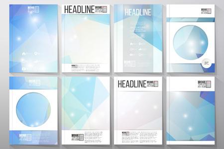 Reeks zakelijke sjablonen voor brochure, flyer of brochure. Abstracte veelkleurige achtergrond. Wetenschappelijk digitaal ontwerp, wetenschap vectorillustratie.