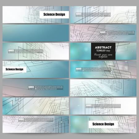 Conjunto de modernos banderas del vector. Fondo abstracto del vector de las tecnologías digitales, el espacio cibernético. Foto de archivo - 49722347
