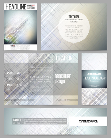 stationery background: Set of business templates for presentation, brochure, flyer, banner or booklet. Abstract science or technology vector background. Illustration