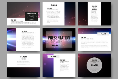 powerpoint: Set of 9 vector templates for presentation slides. Flashes against dark background.