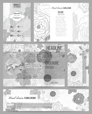 sketch book: Set of business templates for presentation, brochure, flyer, banner or booklet. Hand drawn floral doodle pattern, abstract vector background.
