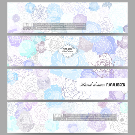 abstract rose: Set of modern vector banners. Hand drawn floral doodle pattern, abstract vector background