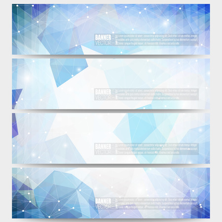 graphic display cards: Set of modern vector banners. Abstract multicolored background. Scientific digital design, science illustration. Illustration