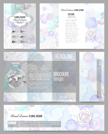 layout design template: Set of business templates for presentation, brochure, flyer, banner or booklet. Hand drawn floral doodle pattern, abstract vector background.