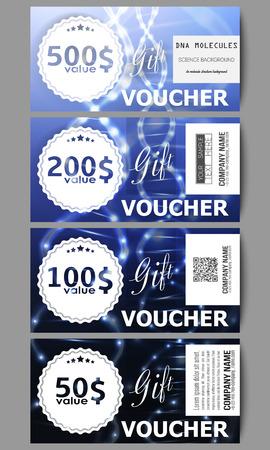 medical bill: Set of modern gift voucher templates. DNA molecule structure on dark blue background. Science vector background. Illustration