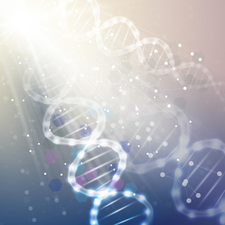 明るい青の背景に DNA 分子構造体。科学のベクトルの背景。  イラスト・ベクター素材