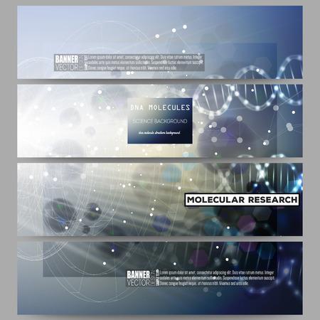 モダンなベクター バナーを設定します。暗い青色の背景に DNA 分子構造体。科学のベクトルの背景。