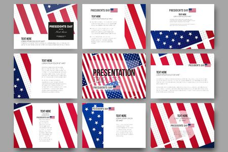 patriotic background: Set of 9 vector templates for presentation slides. Presidents day background, abstract poster with american flag, vector illustration Illustration