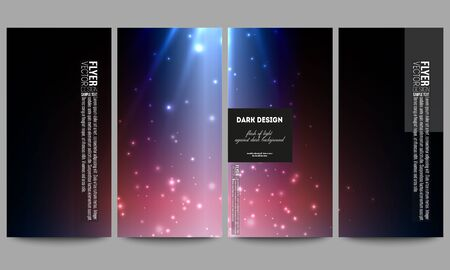 flashes: Set of modern vector flyers. Flashes against dark background.