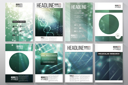 a structure: Set of business templates for brochure, flyer or booklet. DNA molecule structure on dark green background. Science vector background.