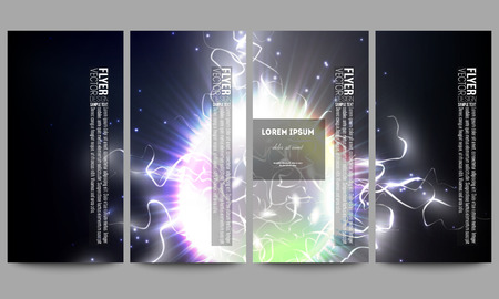 lighting effect: Set of modern vector flyers. Electric lighting effect. Magic vector background with lightning.