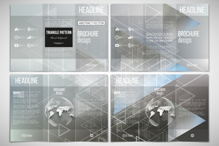 sides: Vector set of tri-fold brochure design template on both sides with world globe element. Abstract blurred vector background with triangles, lines and dots.