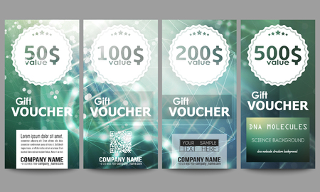 medical bill: Set of modern gift voucher templates. DNA molecule structure on dark green background. Science vector background.